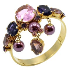 Justin Joy Costume Runway Gold Leaf Bracelet in Violet and Pink