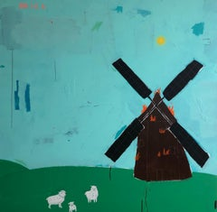 "JUSTIN LYONS ""Earth, Windmill on Fire"" contemporary windmill landscape on canvas"