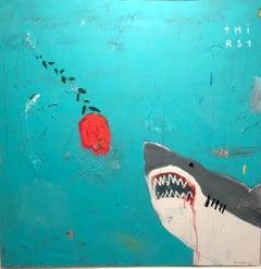 "JUSTIN LYONS ""Love Aquatic"" mixed media contemporary shark painting"