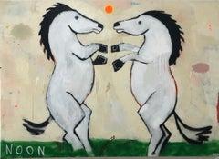 JUSTIN LYONS, Nigh at High, large playful contemporary painting 2 horses dancing