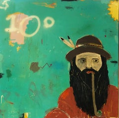 """JUSTIN LYONS """"Penny Stock Tip that's Hip"""" mixed media on canvas hipster w pipe"""