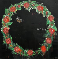 """JUSTIN LYONS """"Rise Arose"""" a wreath of roses with butterfly mixed media painting"""