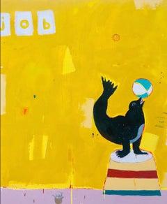 "JUSTIN LYONS ""Skills Pay Bills"" large contemporary yellow pop painting"