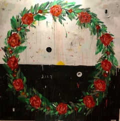 "Justin Lyons, ""We All Fall Down"" contemporary wreath of roses black and white"