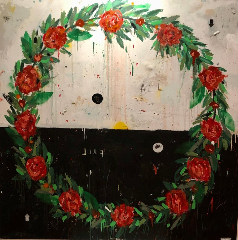 "Justin Lyons, ""We All Fall Down"" contemporary wreath of roses black and white - Painting by Justin Lyons"