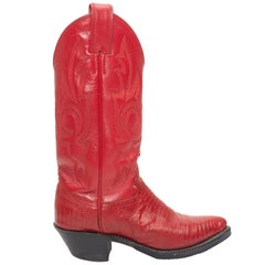 Justin Red Leather Cowboy Boots