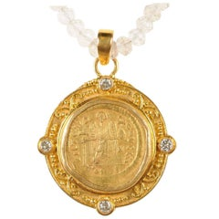 Justinian I, AV Roman Coin Necklace with 22-Karat Gold Bezel and Diamond Accents