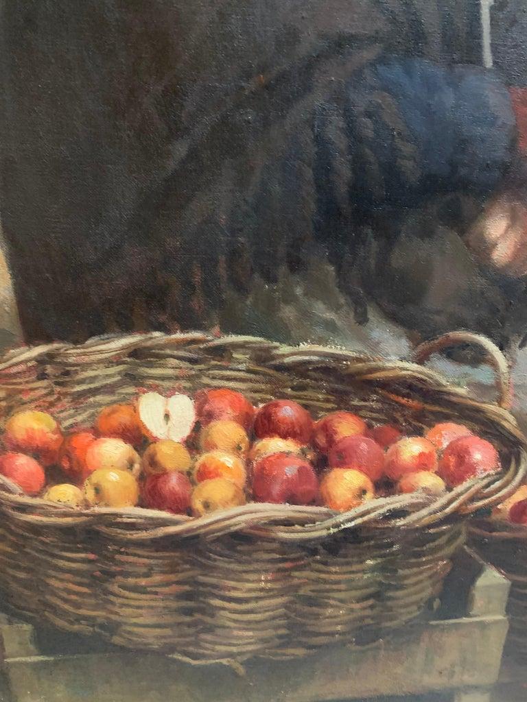 Apple Harvest  - Black Figurative Painting by Justo Revilla