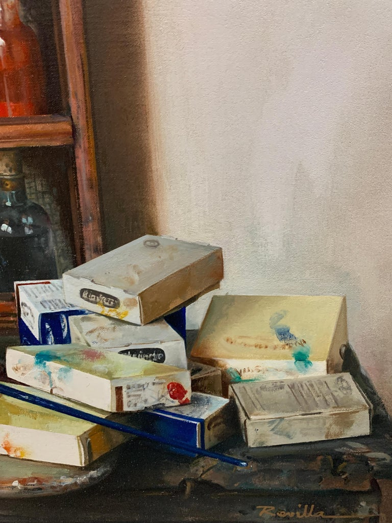 Artist Materials on Shelves - Realist Painting by Justo Revilla