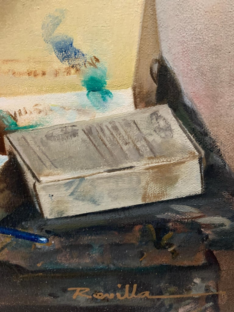 Artist Materials on Shelves - Brown Interior Painting by Justo Revilla
