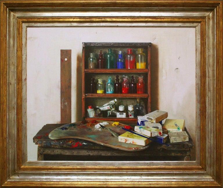 Justo Revilla Interior Painting - Artist Materials on Shelves