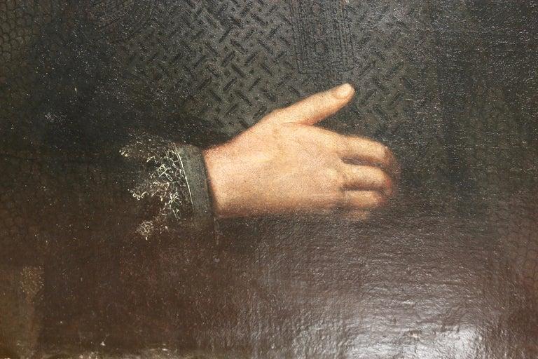 Antique Flemish Baroque painting, 17th Century Portrait