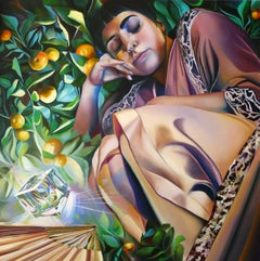 A MIDSUMMER NIGHT'S DREAM - figurative surreal painting with sleeping woman