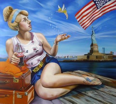 CINDERELLA - surrealist painting with Tinkerbell, Coca-Cola, and American flag