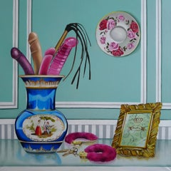 DECOROUSNESS - bold colorful still-life painting with vase and adult toys