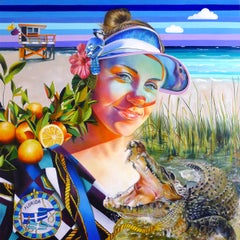 FLORIDA - figurative painting of woman with alligator, beach and oranges