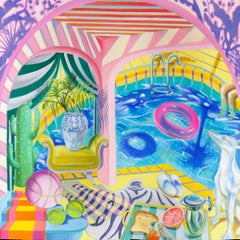 GOLDEN STATE - colorful still-life with pool, dog and vase