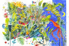 HUSTLE - watercolor painting with tropical plants and pop elements