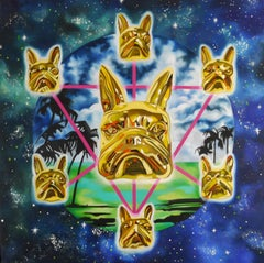 I C U BABY - surrealist painting of French bulldog