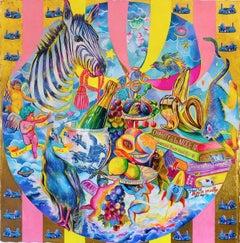 I ONLY WANT GOLD - lamborghini / lambo motif with zebra contemporary still life