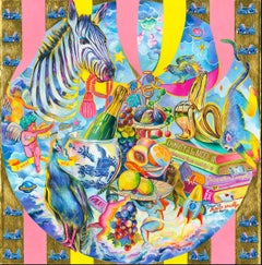 I WANT ONLY GOLD - colorful pop art still-life with zebra, champagne and bananas