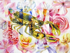 LUXE - colorful pop art still-life with lobster and flowers