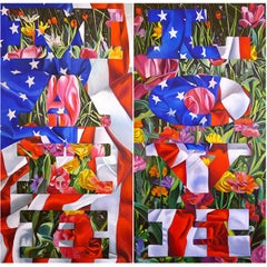 MAKE LOVE - photorealistic painting with flowers and American flag and text