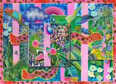 MI GATO ES ROSADO - bold pink and green painting of crazy cat and tropical plant