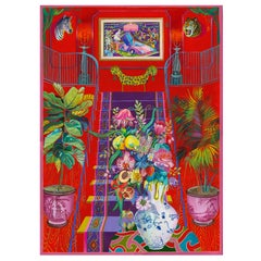 NUDE DESCENDING A STAIRCASE - surreal still-life with vase, flowers and peach