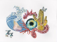 OPPRESSION - surreal still-life with wave, nose, cactus, octopus, eye & origami