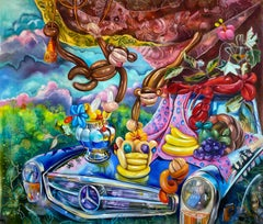 THE REVOLUTION - bold, colorful surrealist painting with balloon animals- monkey