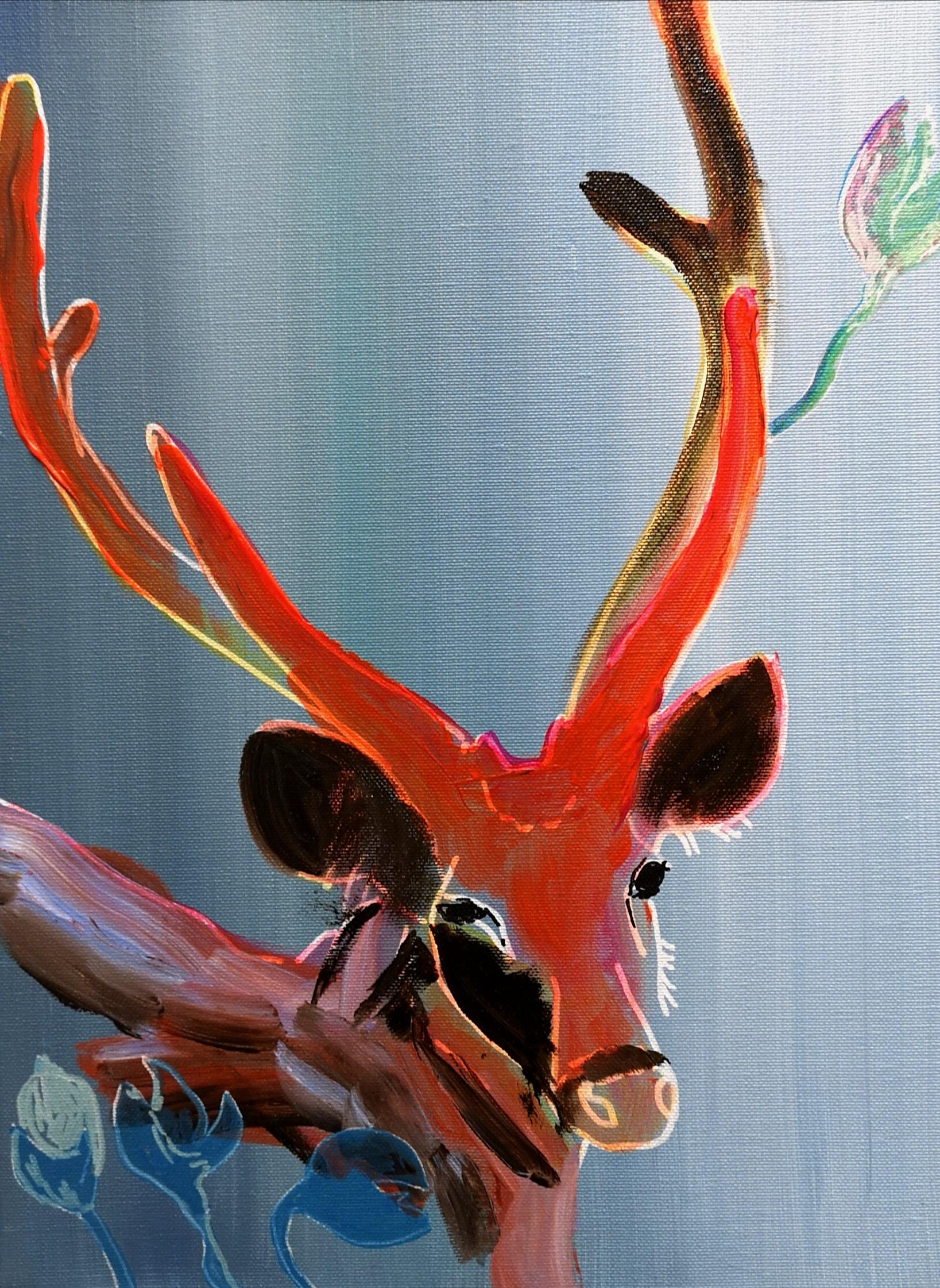 Deer & Tulips - Modern Figurative Animal Painting, Joyful, Colourful
