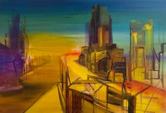 Life Under Construction, Modern Landscape, Architectural Painting, Expressionism