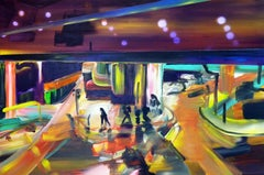 Light Will Guide You 1  -  Modern, Expressionism, Cityscape Painting, Colorful