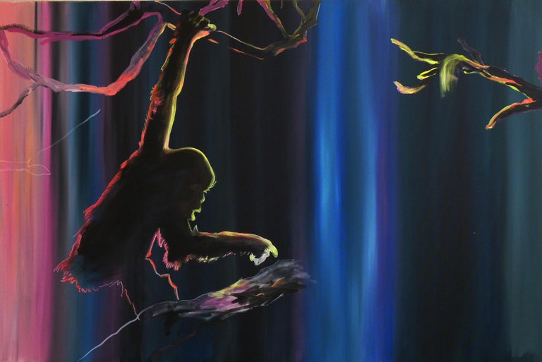 Preparing to Escape - Diptych, Monkey, Jungle, Modern Landscape Painting, Light - Black Animal Painting by Justyna Pennards-Sycz