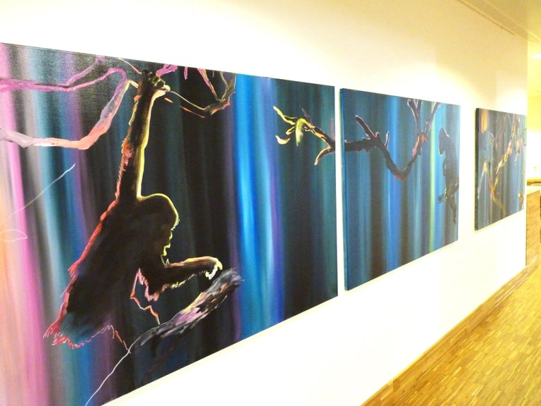 Preparing to Escape - Diptych, Monkey, Jungle, Modern Landscape Painting, Light For Sale 4