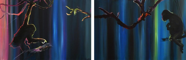 Justyna Pennards-Sycz Animal Painting - Preparing to Escape - Diptych, Monkey, Jungle, Modern Landscape Painting, Light