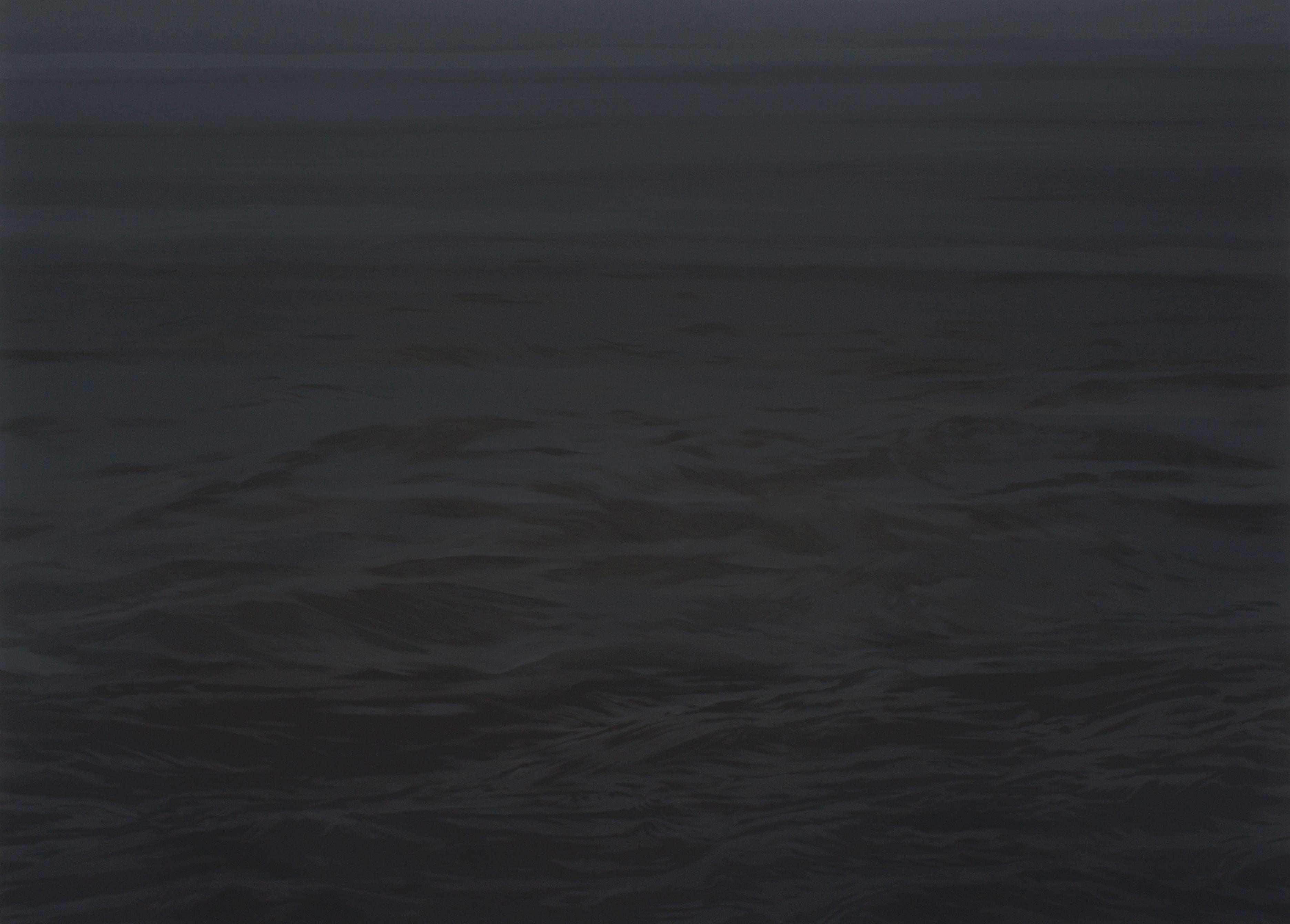 Black Water  - (The Sea) - Large Format Painting, Landscape, Water, Dark Blue