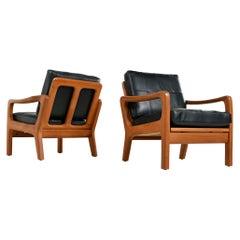 Juul Kristensen Danish Solid Teak Lounge Chair Set in New Black Leather