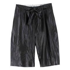 JW Anderson black paperbag-waist leather shorts