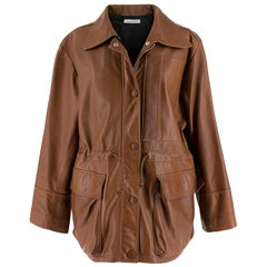 JW Anderson Brown Soft Leather Drawstring Waist Jacket - Size S