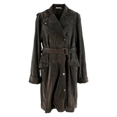 J.W. Anderson Grey Suede Trench Coat - Size XXS