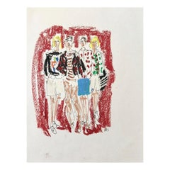 J.W. Anderson, Ink and Oil Pastel on Archival Paper