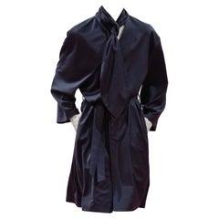 JW Anderson Navy Wool Single Breasted Runway Coat with Scarf - Size Medium EU 46