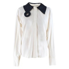 J.W. Anderson White Shirt with Leather Collar UK 6