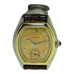 J.W. Benson 18 Karat Two-Tone Gold Tortue Shaped Wristwatch, circa 1920s