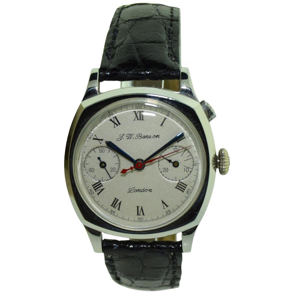 J.W. Benson Early Steel Chronograph Cushion Shaped Wristwatch, circa 1930s