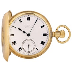 J.W. Benson Half Hunter Pocket Watch 9 Karat Yellow Gold White Enamel Dial