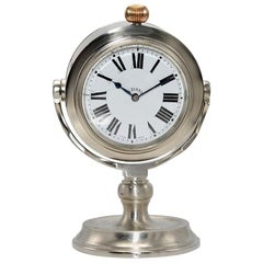 J.W. Benson Nickel Finished Nautical Desk Clock with 2 Enamel Dials from 1930s