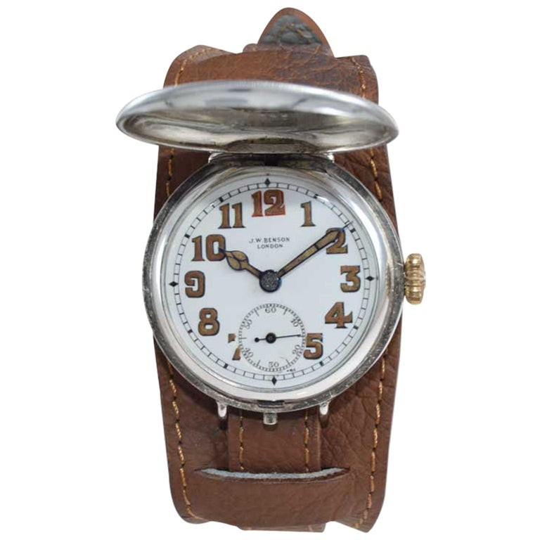 J.W. Benson Silver Campaign Style Hunters Case Watch with Original Dial For Sale